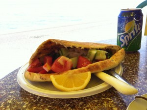 Souvlaki in pitta bread