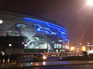 Leeds Arena Blue Neon Exterior Lighting