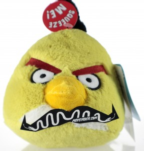 Yellow Angry Bird Soft Toy with a Moustache