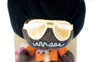 Marvin Afro Sackboy Plush Toy Wearing a Moustache for Movember