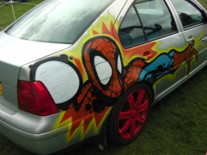 Spiderman Graffiti on a car at VW Festival Leeds